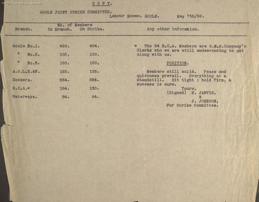 Report, Goole, 7 May 1926
