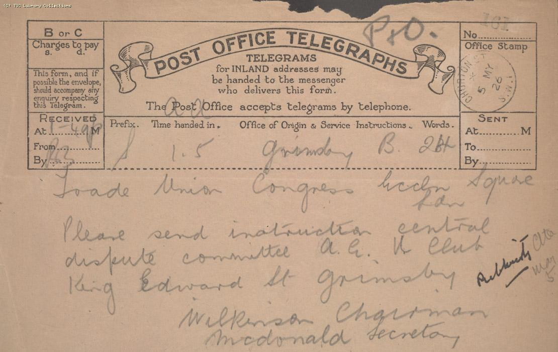 Telegram - Grimbsby, 5 May 1926