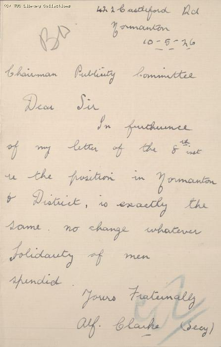 Letter, Normanton, 10 May 1926