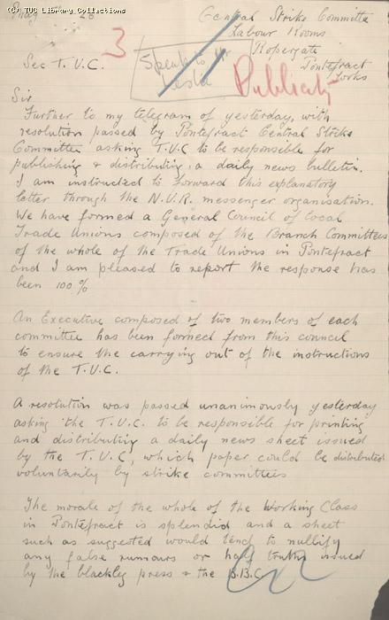 Letter - Pontefract Central Strike Committee, 6 May 1926