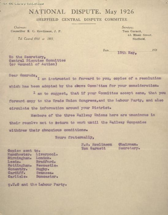 Report - Central Disputes Committee, Sheffield, 13 May 1926