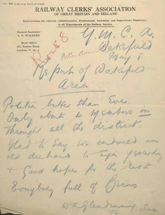 Letter - Railway Clerks Association, Wakefield branch, 8 May 1926