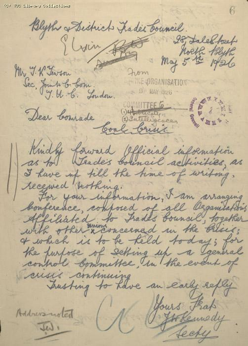 Letter - Blyth and District Trades Council, 5 May 1926