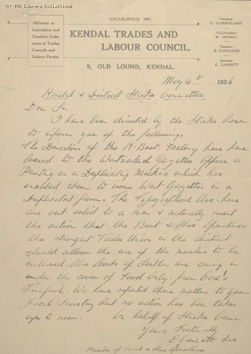 Letter - Kendal Trades and Labour Council, 9 May 1926