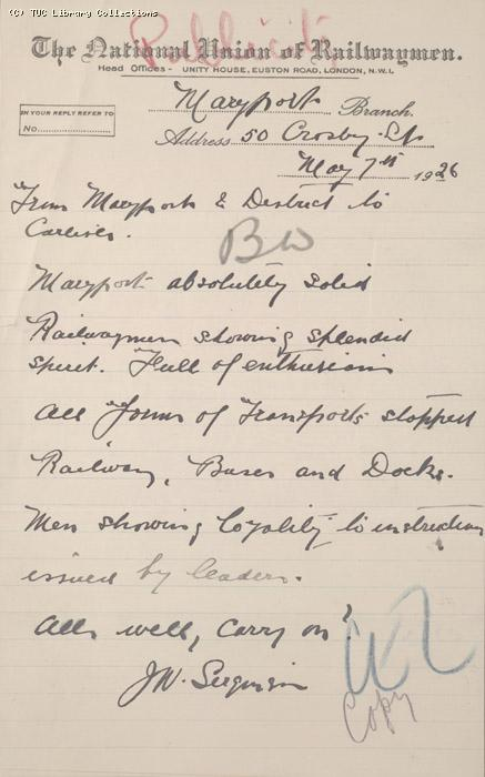 Letter - Maryport branch of NUR, 7 May 1926
