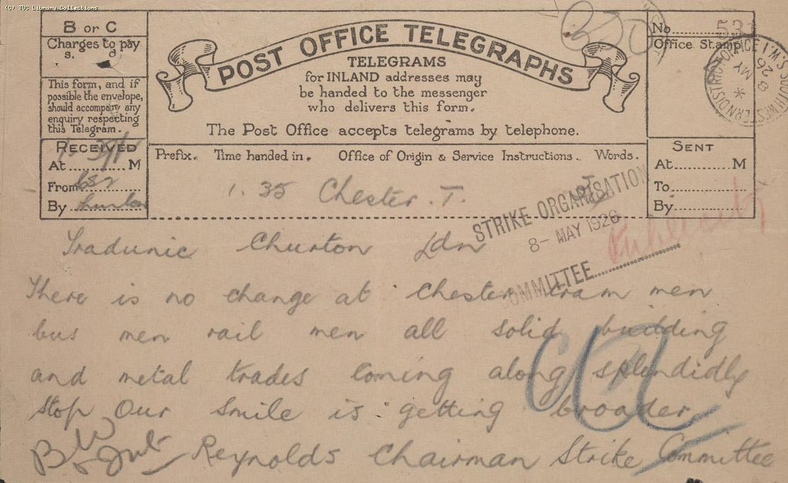 Telegram, Chester, 8 May 1926