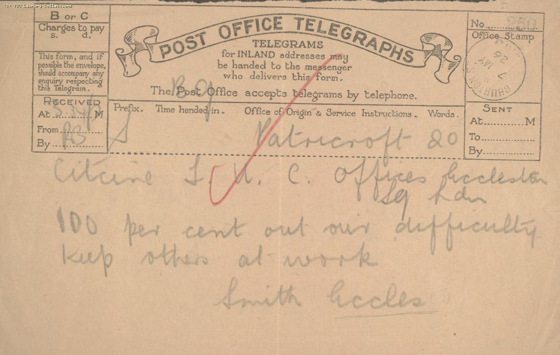 Telegram, Eccles, 7 May 1926