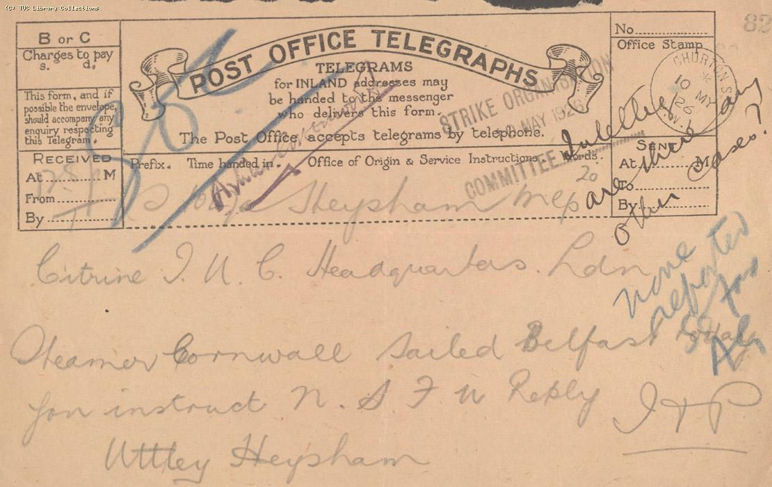 Telegram, Heysham, 10 May 1926