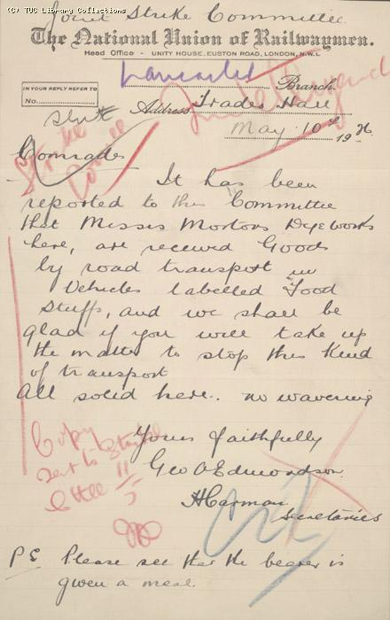 Letter - Joint Strike Committee, NUR, Lancaster Branch, 10 May 1926