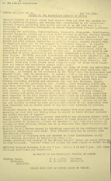 Strike Bulletin No. 3, Merseyside Council of Action, 7 May 1926