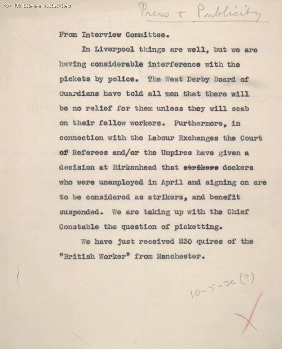 Report, Liverpool, 10 May 1926 (?)