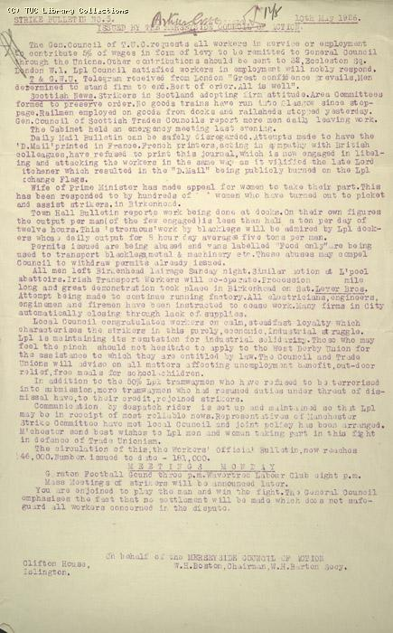 Strike Bulletin No. 5, Merseyside Council of Action, 10 May 1926