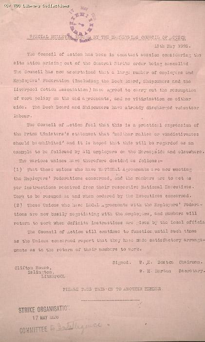 Strike Bulletin, Merseyside Council of Action, 13 May 1926