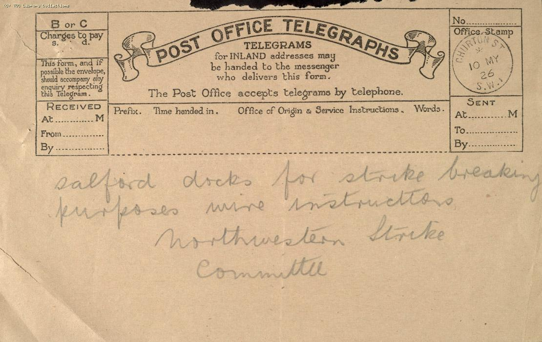 Telegram, Manchester, 10 May 1926 (2)