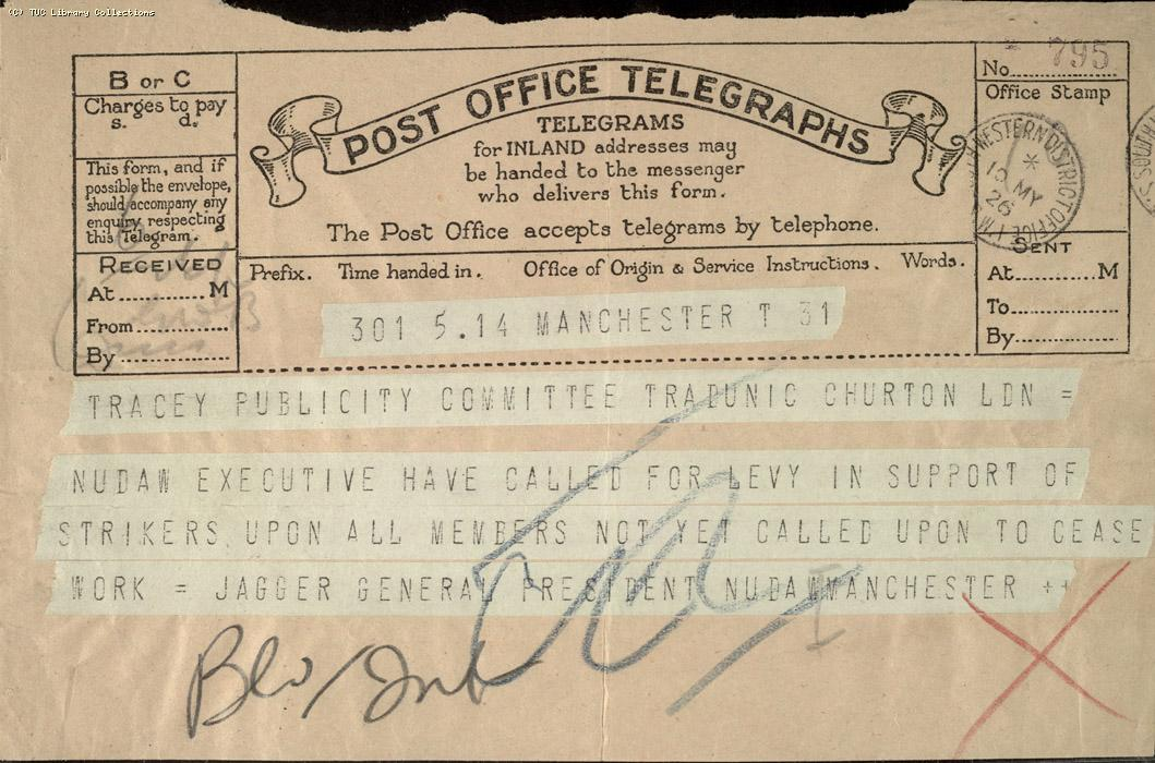 Telegram, Manchester, 10 May 1926 (1)
