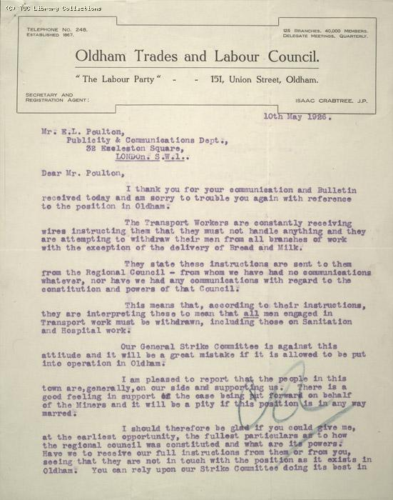 Letter - Oldham Trades and Labour Council, 10 May 1926