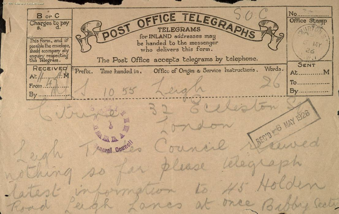 Telegram, Leigh, 6 May 1926