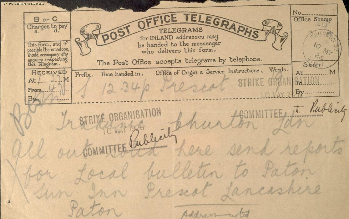 Telegram, Prescot, 10 May 1926