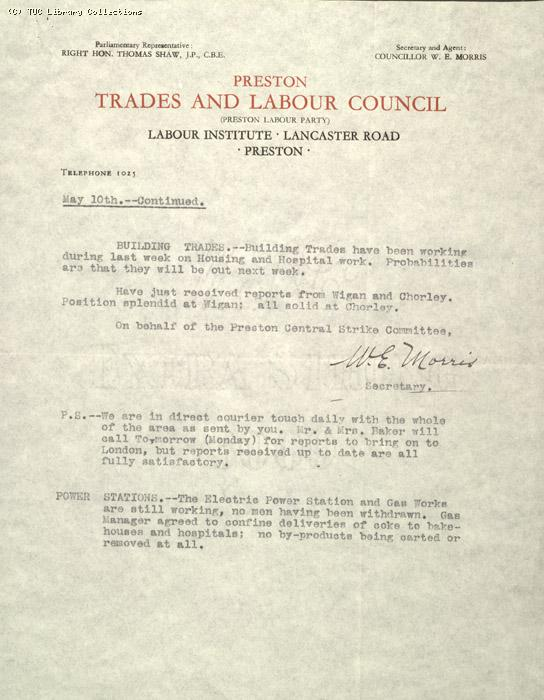 Letter - Preston Trades and Labour Council, 10 May 1926