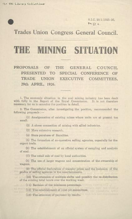 Leaflet - The mining situation, 29 April 1926
