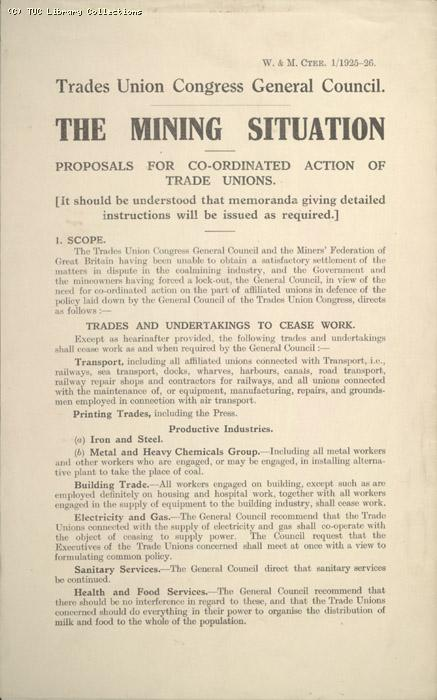 Leaflet - The mining situation, 30 April 1926