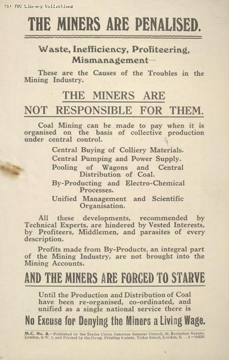Leaflet - The miners are penalised