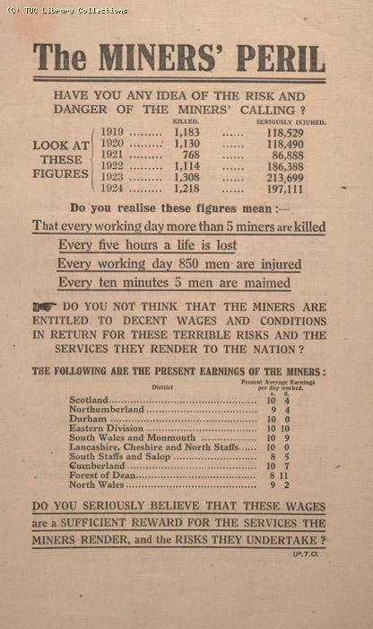 Leaflet - The miners' peril