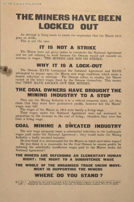 Leaflet - The Miners have been locked out