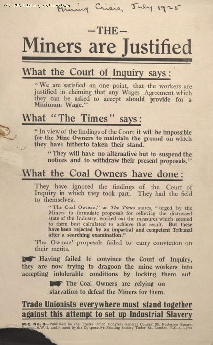 Leaflet-The Miners are Justified, 1925