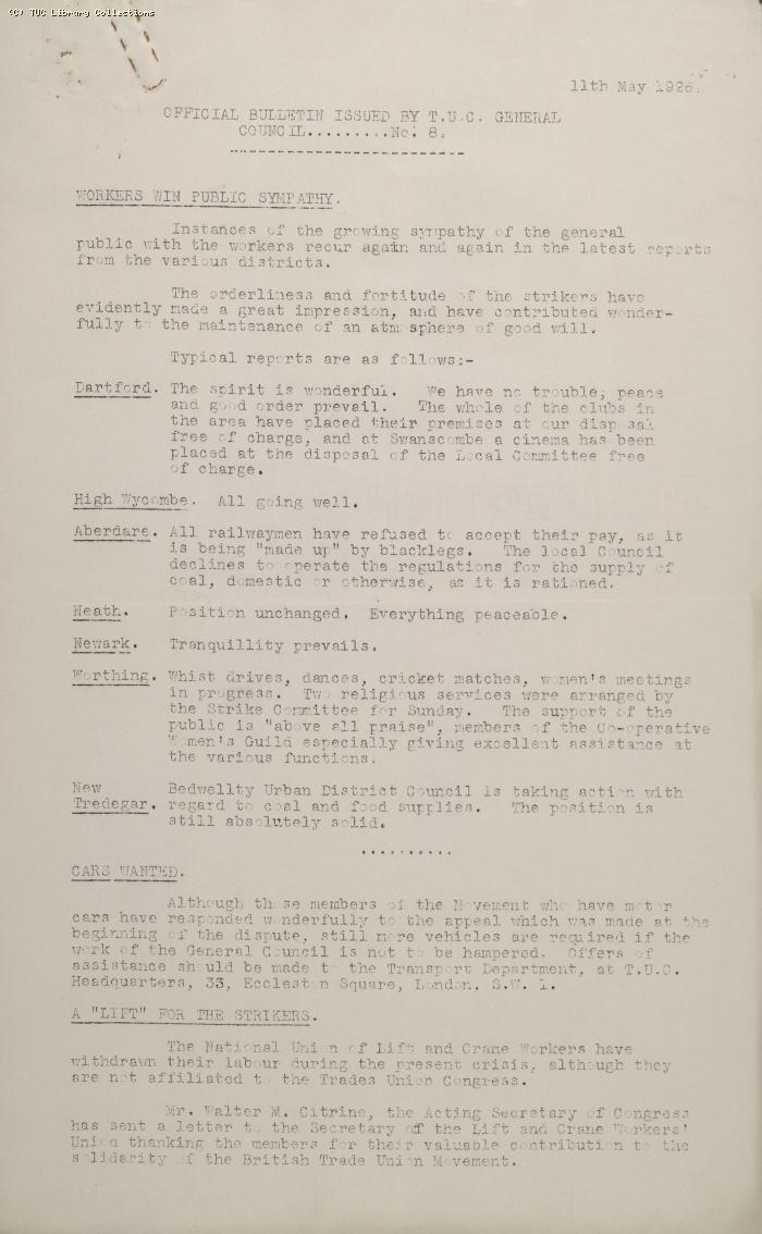 TUC Official Bulletin No.8, 11 May 1926 (1)