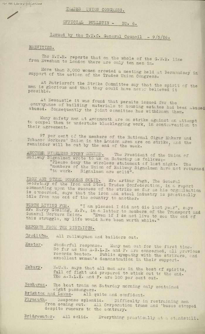 TUC Official Bulletin No.6, 9 May 1926