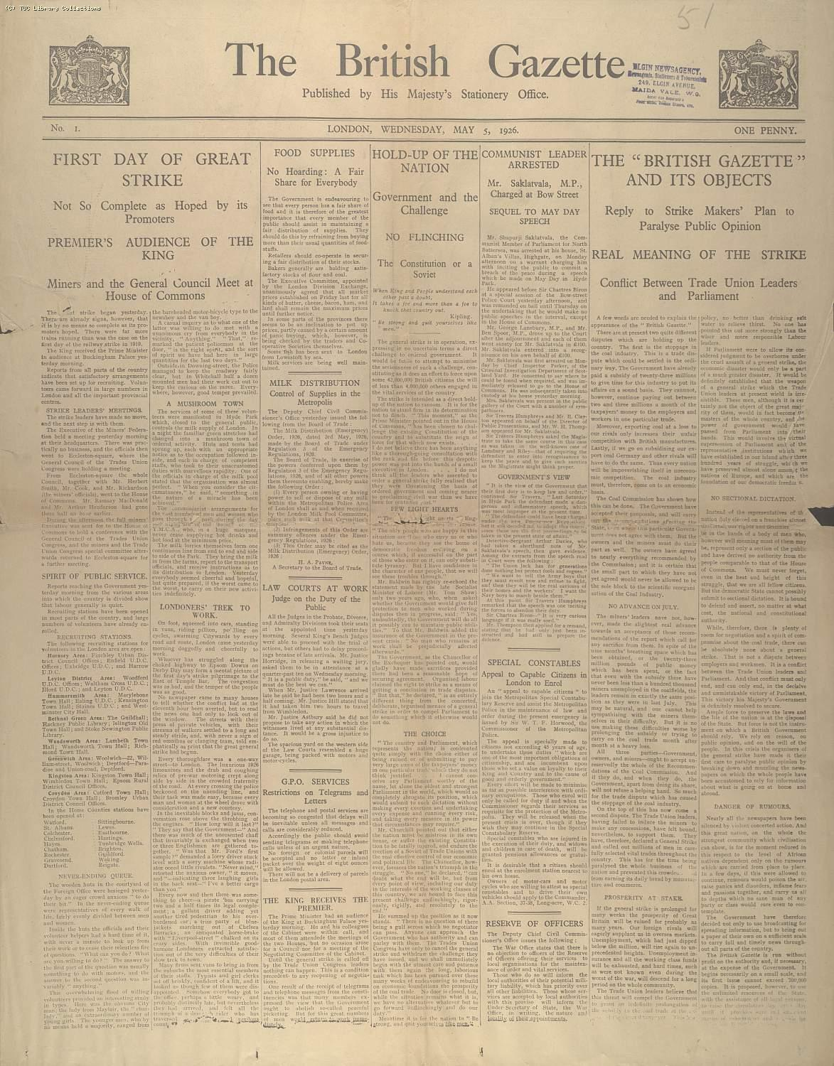 The British Gazette, 5 May 1926