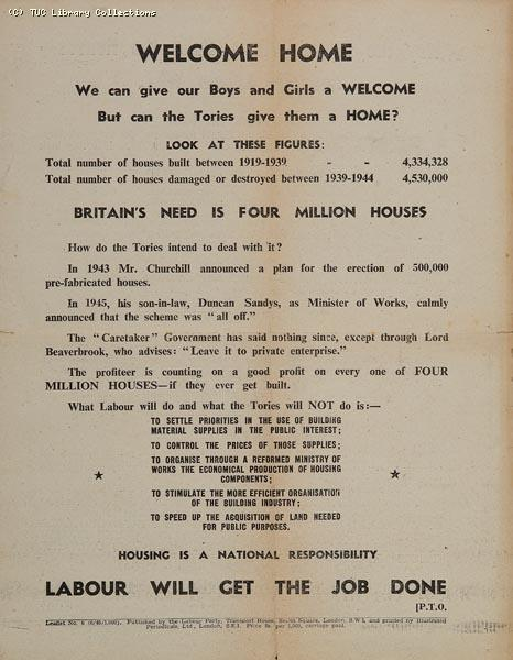 Welcome home - Labour Party leaflet, 1945