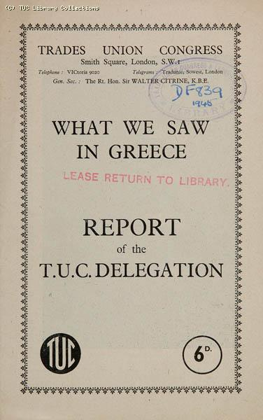TUC delegation to Greece, January 1945