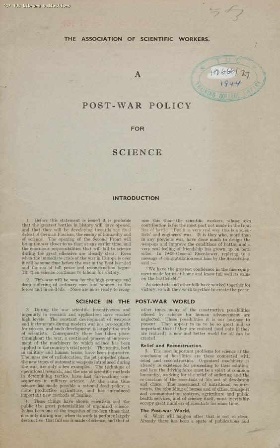 Post-war policy for science, 1944