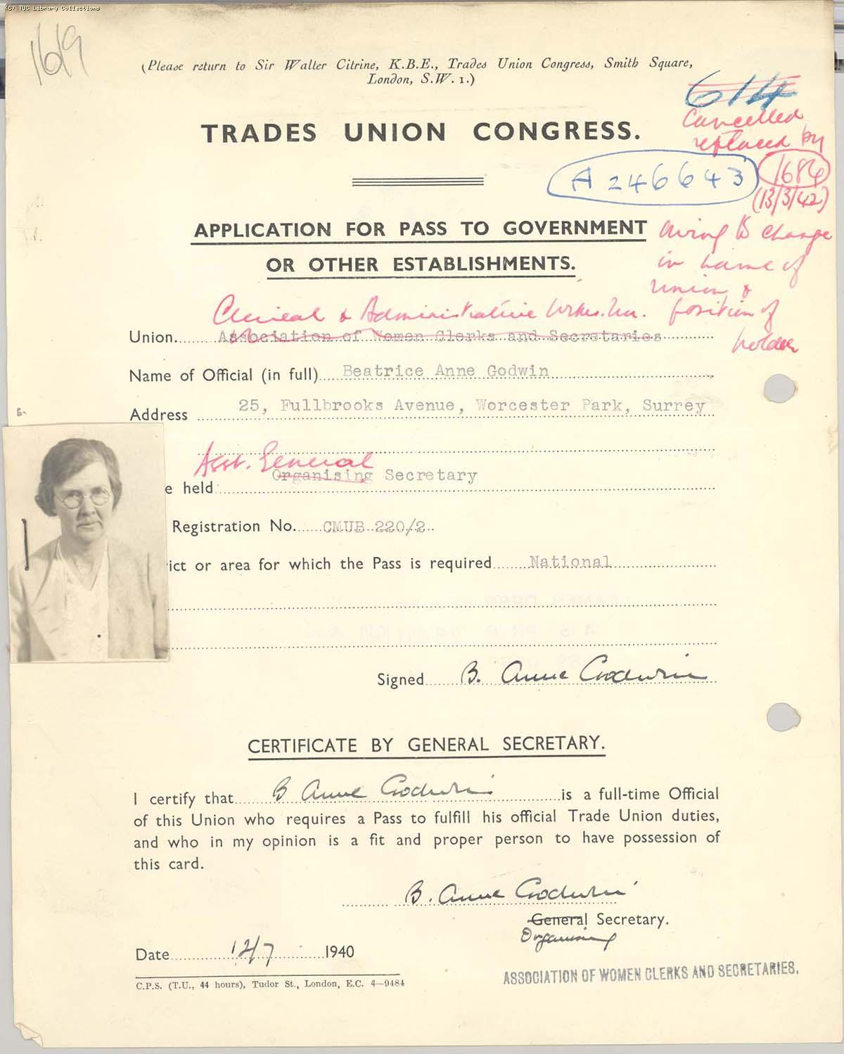 Passes for trade union officials, Ann Godwin