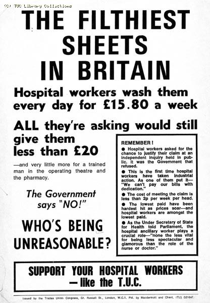 TUC leaflet supporting hospital workers pay claim