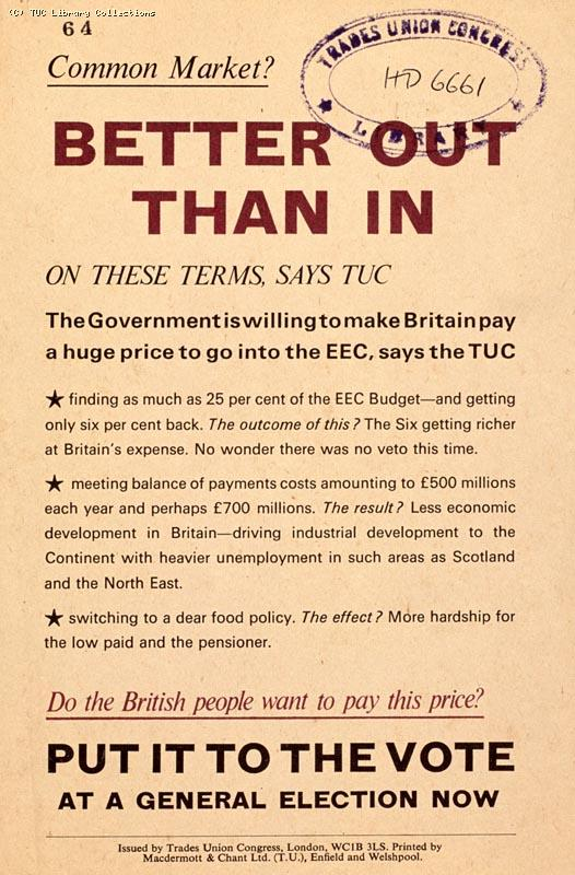 Better out than in - TUC leaflet, 1971