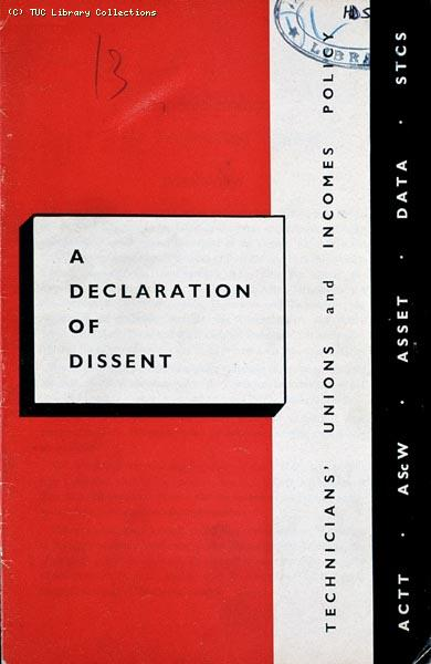 'A declaration of dissent', 1965