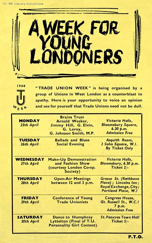 Leaflet - 'Trade Union Week', 1960