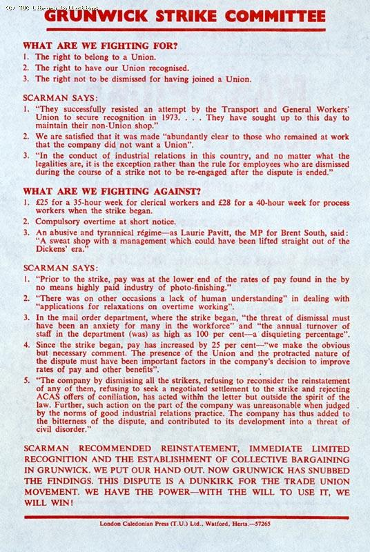 Leaflet - Grunwick Strike Committee, Mass Picket, 17 October (page 2)