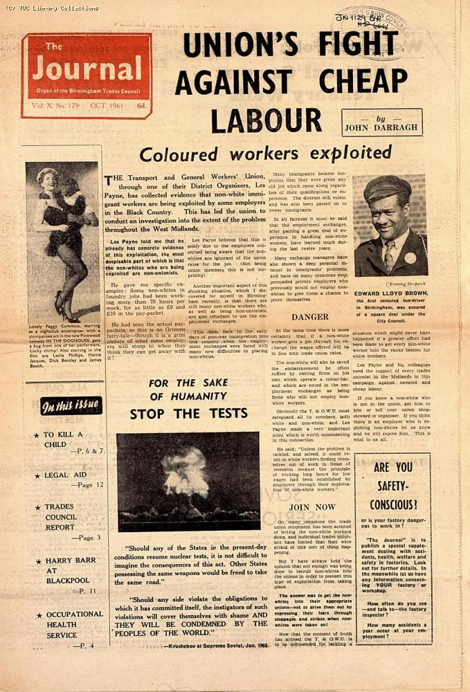 'The Journal' - Birmingham Trades Council, October 1961
