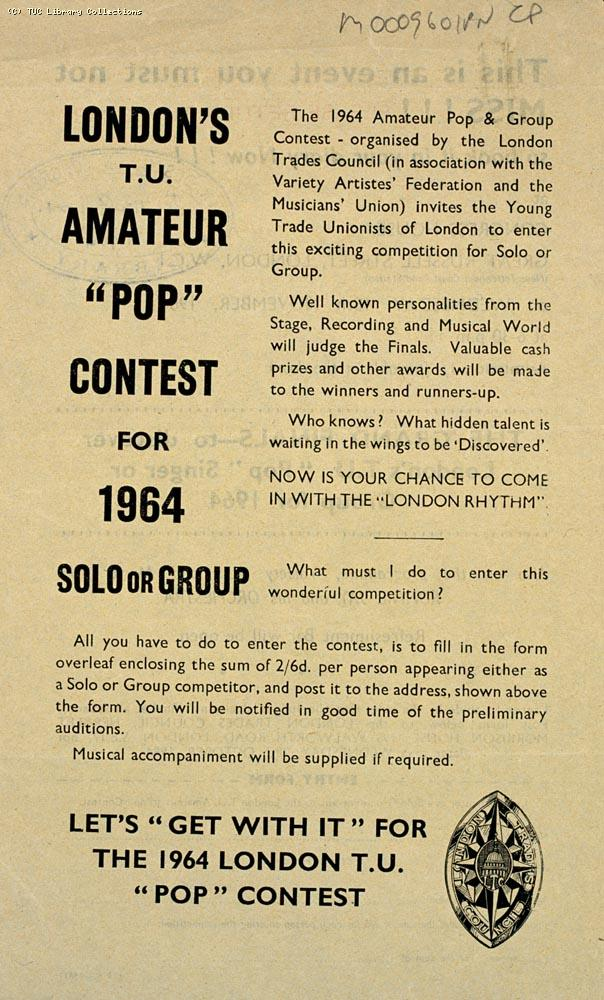 Leaflet - Amateur pop and group contest, 1964