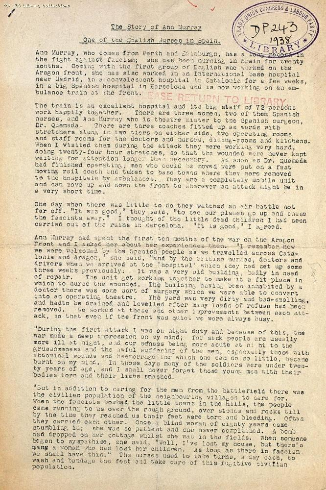 The Story of Ann Murray - One of the English Nurses in Spain, 1938 (page 1)