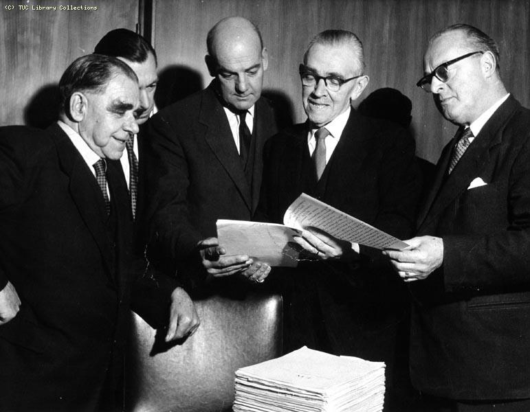 Presentation of the manuscript of The Ragged Trousered Philanthropists at Congress House, 1959