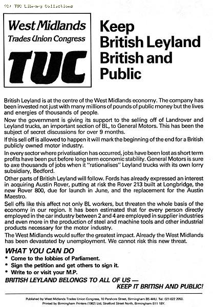 British Leyland privatisation - TUC leaflet 1985