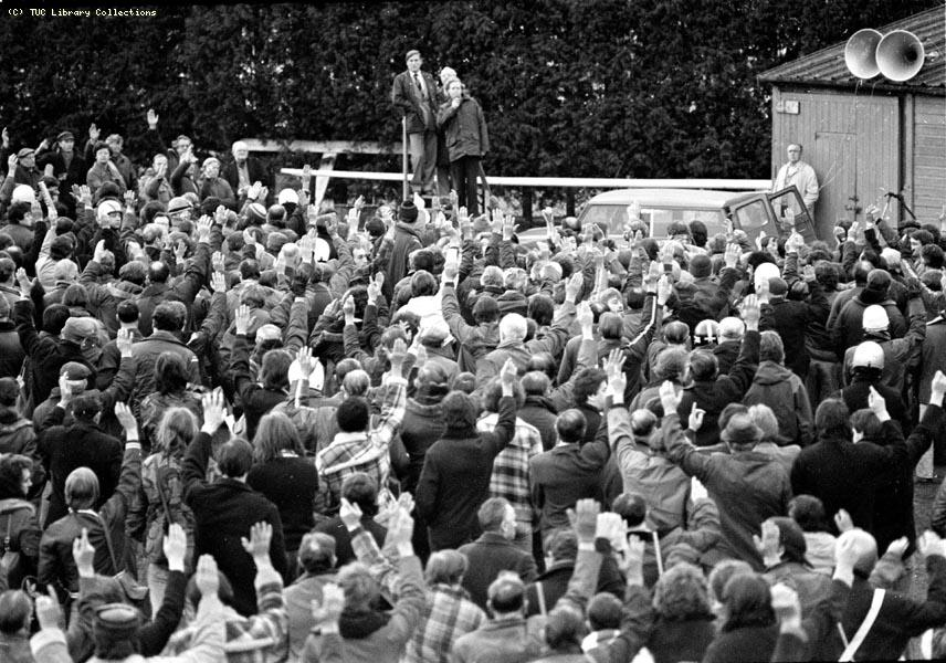 Mass meeting at British Leyland, 1981