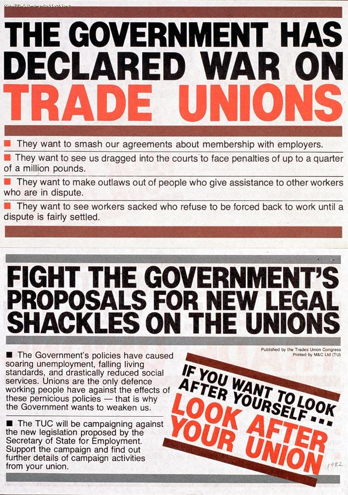 TUC leaflet - Anti-Employment Legislation, 1982