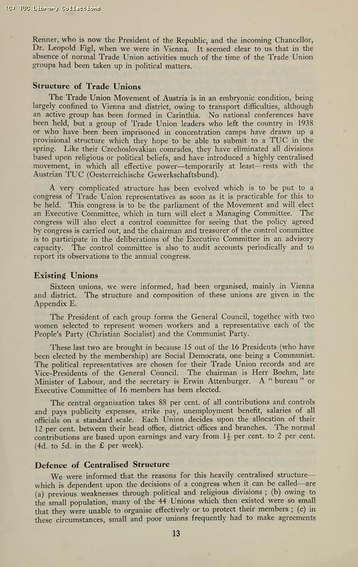 Trade Unionism in Central Europe - TUC Survey, 1946