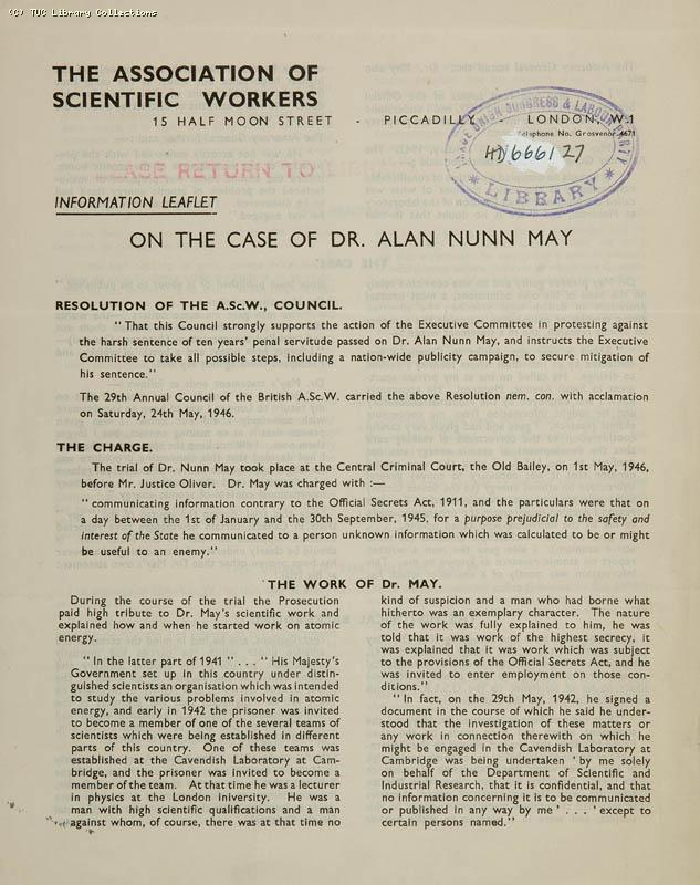 The case of Dr Alan Nunn May, 1946